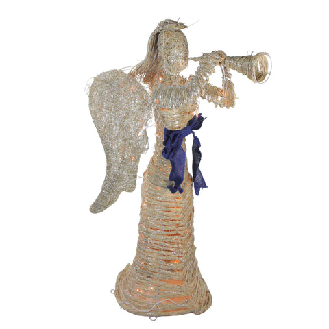"51"" Glitter Dusted Rattan Angel with Horn - Lighted"