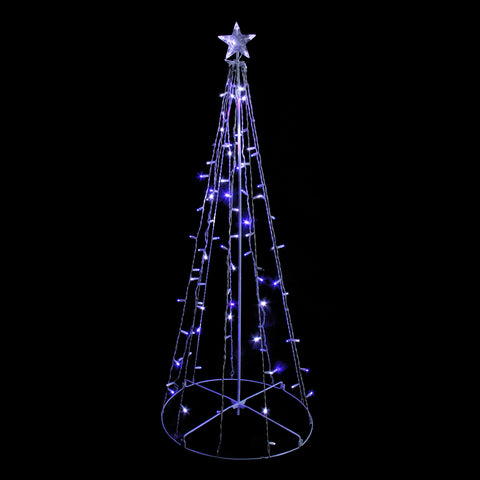 5' Blue & White Twinkling LED Lighted Show Cone Tree - Willow Manor Shop