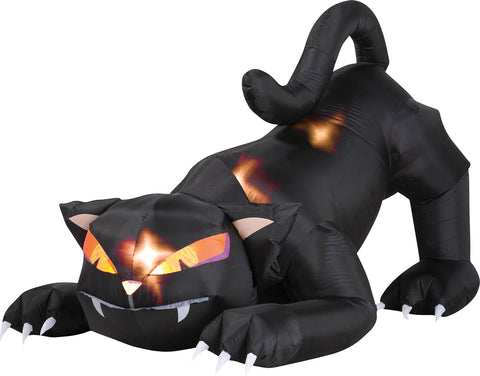6 Ft Black Cat Inflatable - Animated - Willow Manor Shop
