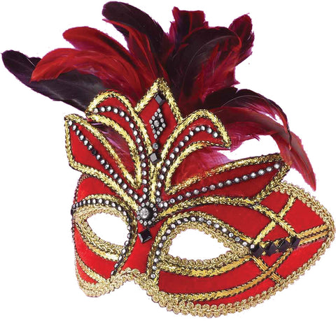 Venetian Mask Red with Feathers - Willow Manor Shop