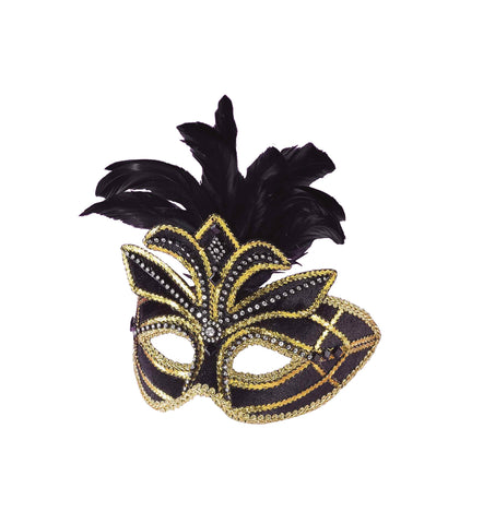 Venetian Mask with Feathers - Willow Manor Shop