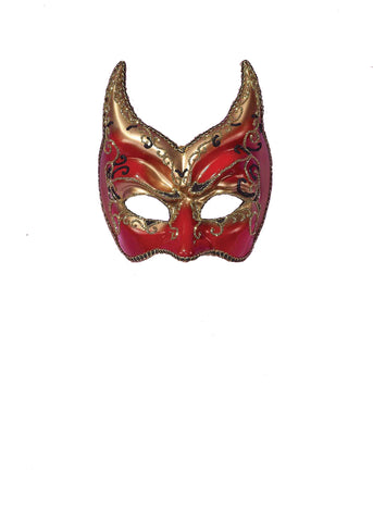 Venetian Mask Red with Gold Points - Willow Manor Shop