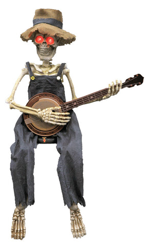"40"" Skeleton Playing Banjo - Animated - Willow Manor Shop"