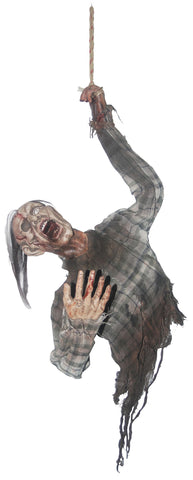 3 Ft Hanging Bloody Zombie Torso - Animated - Willow Manor Shop