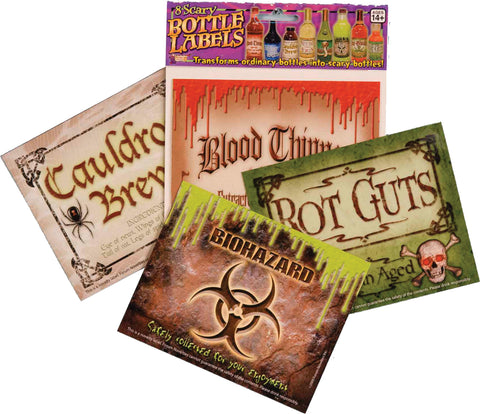 Scary Bottle Labels - 2 Packages - Willow Manor Shop
