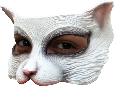 Kitty White Latex Half Mask - Willow Manor Shop