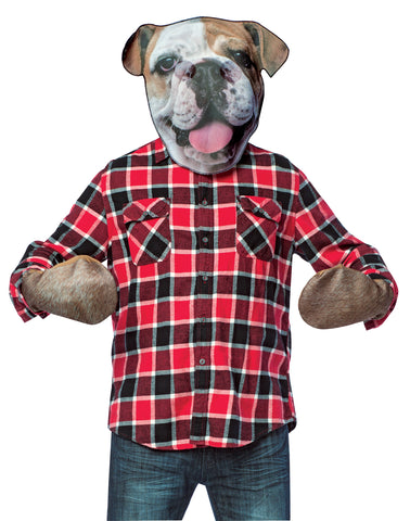 Bull Dog Head with Paws Mask