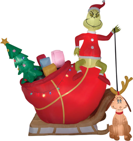 12' Grinch & Max in Sleigh - Inflatable - Willow Manor Shop