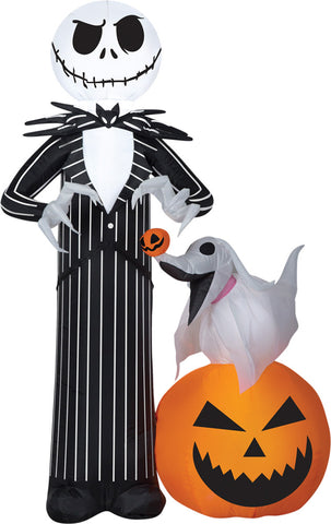 5 Ft Jack Skellington & Zero - Inflatable - Willow Manor Shop