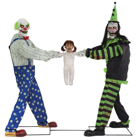 Tug Of War Clowns Green & Black - Animated - Willow Manor Shop
