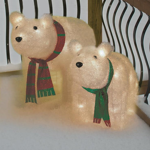 Set of 2 Polar Bears - Lighted - Willow Manor Shop