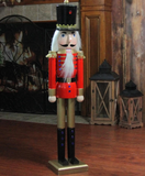 3 Ft Red & Gold Wooden Nutcracker