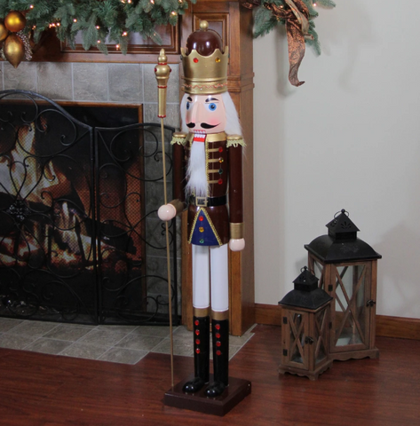 "48"" Wooden Nutcracker King with Specter - Willow Manor Shop"