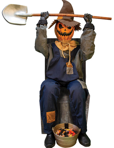 Smiling Scarecrow Jack with Chair - Animated - Willow Manor Shop