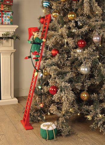 Musical Elf Climbing Tree Ladder - Animated - Willow Manor Shop
