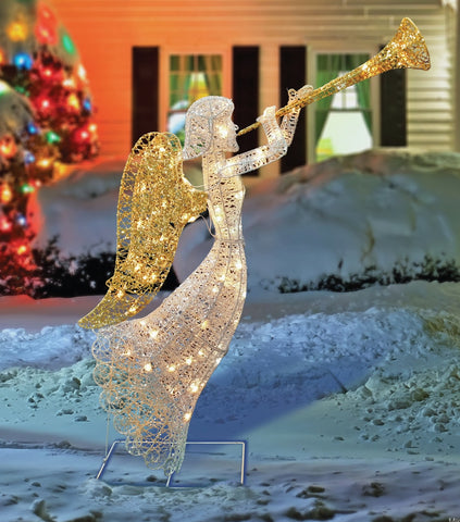 "48"" Silver & Gold Trumpeting Angel - Lighted"