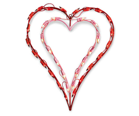 "16"" Double Heart Lighted - Willow Manor Shop"