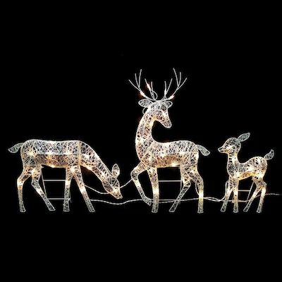 Set of 3 Doe Fawn & Reindeer - Lighted