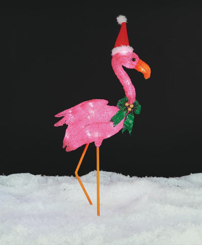 3 Ft Flamingo with Santa Hat - Lighted