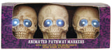 Lighted Skull Yard Path Stakes - Animated - Willow Manor Shop
