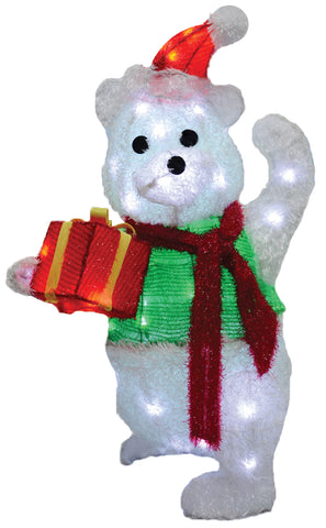 "35"" Teddy Bear with Gift - Lighted - Willow Manor Shop"