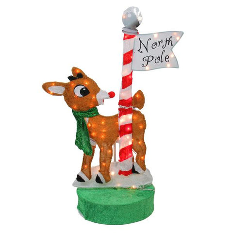 3 Ft Rudolph at the North Pole - Animated - Willow Manor Shop
