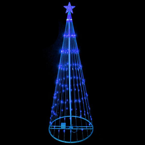 12' Blue LED Show Cone Outdoor Tree