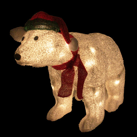 "23"" Glittered Polar Bear - Lighted - Willow Manor Shop"