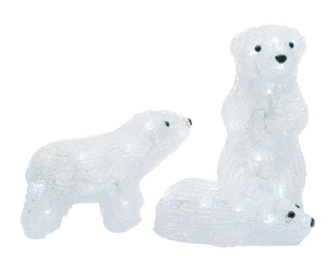 Set of 3 Acrylic Baby Polar Bears - Lighted - Willow Manor Shop