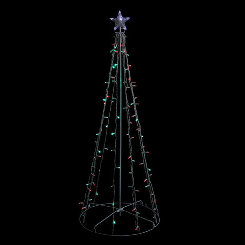 5' Red & Green Twinkling LED Lighted Show Cone Tree