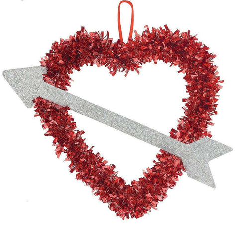 "14""Hanging Tinsel Heart & Arrow - Willow Manor Shop"