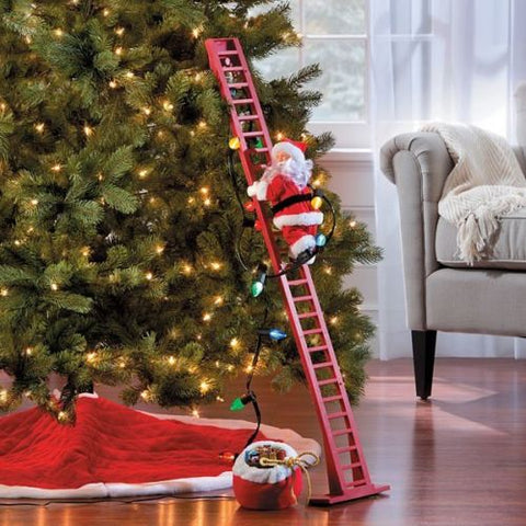 Musical Santa Climbing Tree Ladder - Animated - Willow Manor Shop