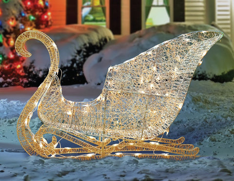 "41"" Elegant White Glittering Sleigh - Lighted"