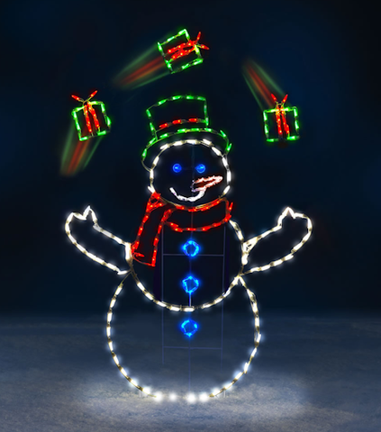 5 Ft LED Snowman Juggling Gifts - Animated - Willow Manor Shop