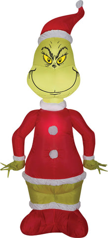 4 Ft Santa Grinch Inflatable - Lighted
