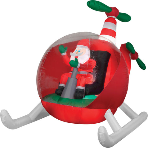 8 Ft Helicopter Santa Inflatable - Animated - Willow Manor Shop