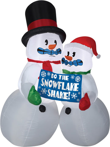 6 Ft Shivering Snowman Couple Inflatable - Willow Manor Shop