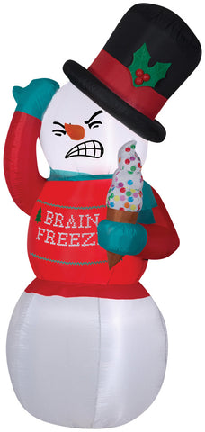 6 Ft Shivering Brain Freeze Snowman Inflatable - Willow Manor Shop
