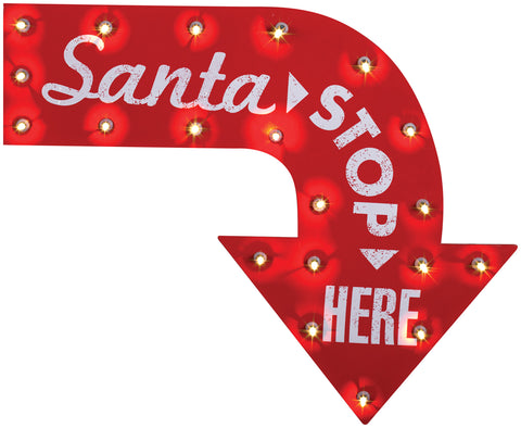 """SANTA STOPS HERE"" Vintage Style Metal Sign - Lighted"