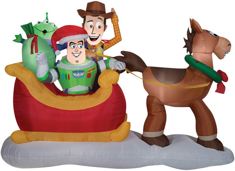 "62"" Toy Story Sleigh Inflatable - Lighted - Willow Manor Shop"