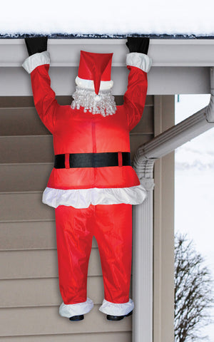 6' Roof Hanging Santa Inflatable - Lighted - Willow Manor Shop