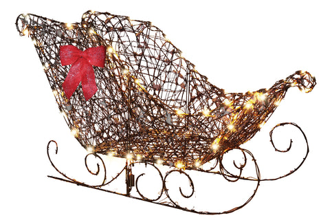 "48"" LED Starry Night Grapevine Sleigh - Lighted - Willow Manor Shop"