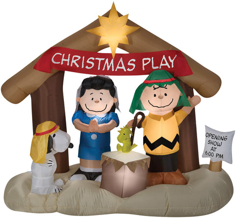 "69"" Peanuts Nativity Scene Inflatable - Lighted - Willow Manor Shop"