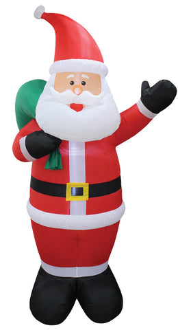 8 Ft Santa with Toy Bag Inflatable - Lighted - Willow Manor Shop