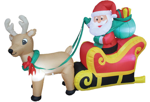 6 Ft Santa Reindeer Sleigh Inflatable - Lighted - Willow Manor Shop