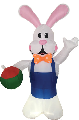 7 FT LED LIGHTED EASTER BUNNY / EGG INFLATABLE