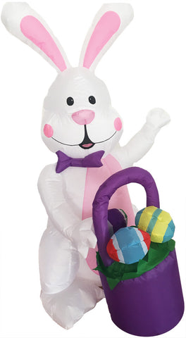 4 FT LED LIGHTED EASTER BUNNY WITH BASKET INFLATABLE - Willow Manor Shop