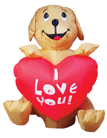 4' LED Lighted Puppy Dog Heart Inflatable - Willow Manor Shop