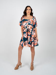 Short Dress with Sleeves - Blue Orange & Salmon
