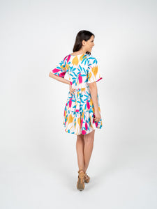 Short Dress with Sleeves - White Rose Blue & Yellow